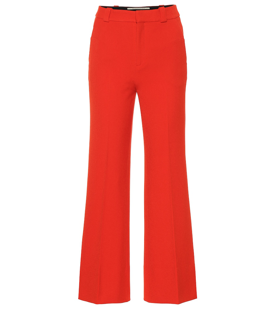 Roland Mouret Dilman High-Rise Wide-Leg Pants In Red