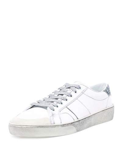 953461a9f69 Saint Laurent Men's Sl/37 Distressed Low-Top Sneakers, White/Silver ...