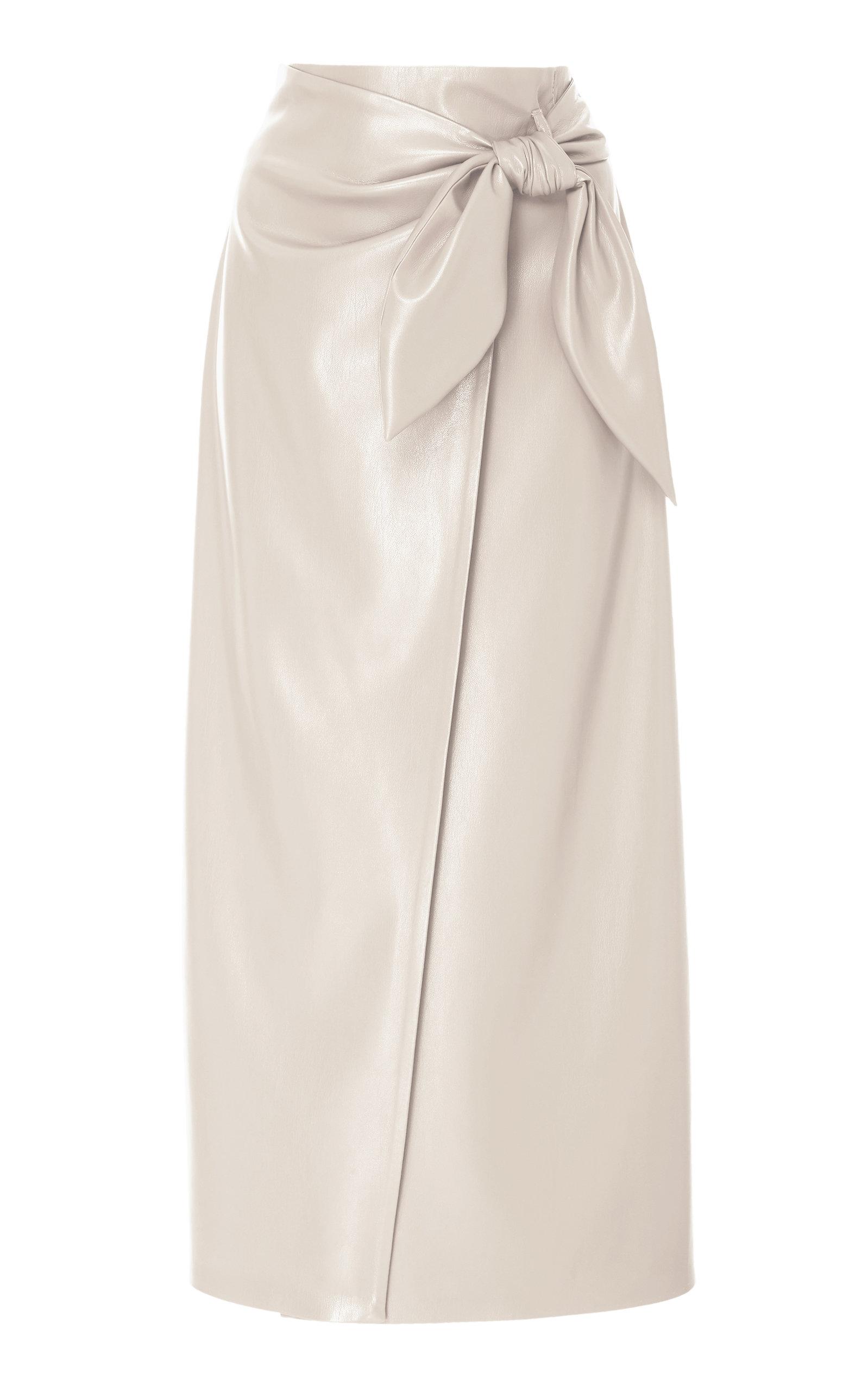 411e400cc5f9 Nanushka Amas Tie Front Vegan Leather Midi Skirt In White
