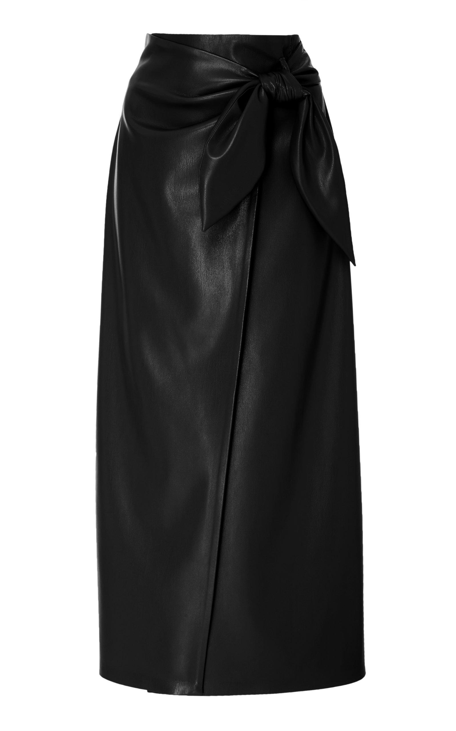 f3eab1c9748f Nanushka Amas Tie Front Vegan Leather Midi Skirt In Black