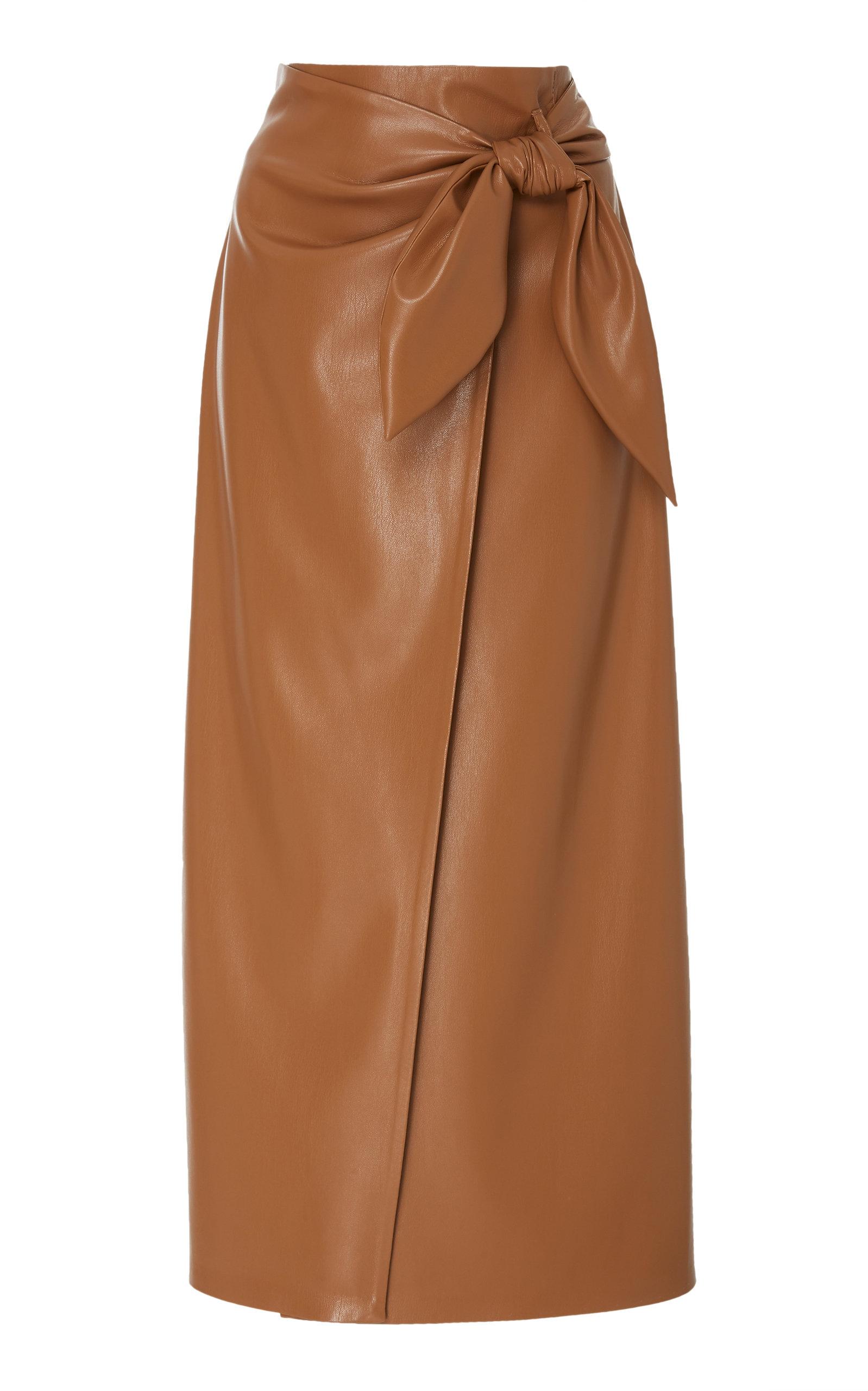 4f12c4914544 Nanushka Amas Tie Front Vegan Leather Midi Skirt In Brown