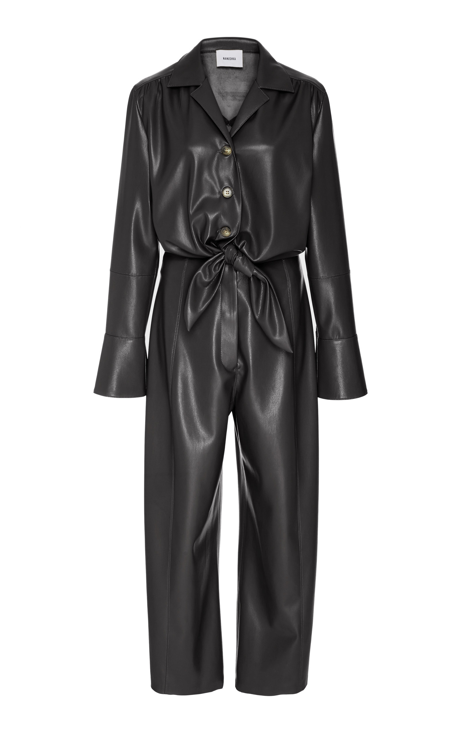 bc3e334ce1dd Nanushka Ana Tie Front Vegan Leather Jumpsuit In Black