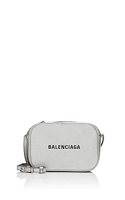 Balenciaga Small Everyday Calfskin Leather Camera Bag - White In 9060 Wht/Bl