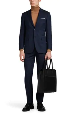 Brioni Brunico Virgin Wool Two-Button Suit In Navy