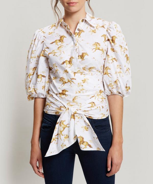 e221a6b9 Ganni Weston Horse Print Tie Front Top In Bright White | ModeSens