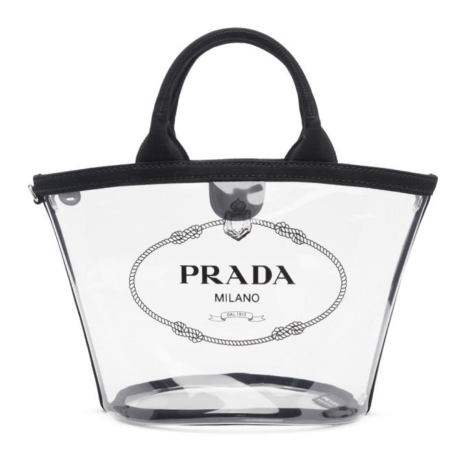 97bb0cf2d586 Prada Transparent And Black Pvc Tote In F0002 Black | ModeSens