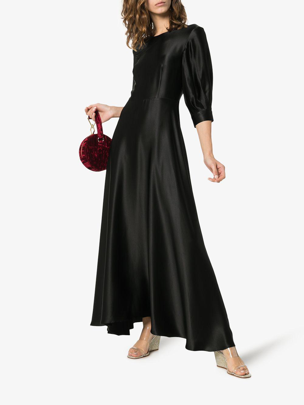 b955caf452f06 Deitas Ada Puff Sleeve Silk Dress In Black