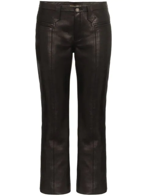 Saint Laurent Kick Flare Leather Trousers In Black