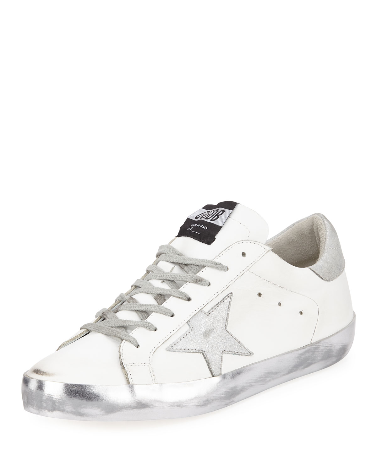 Golden Goose Men's Superstar Leather Low-Top Sneakers In White/Silver
