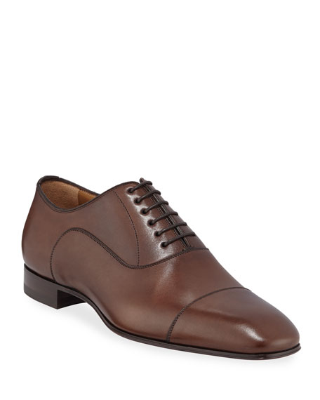 Christian Louboutin Greggo Patina Calf Leather Red Sole Oxford In Brown