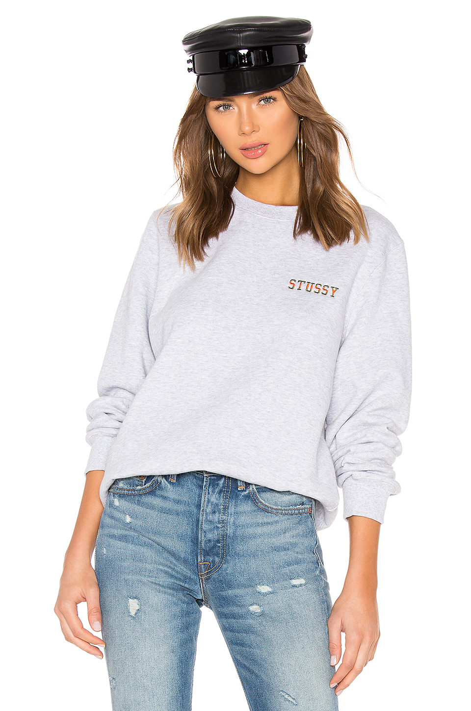 74325034 Stussy Ivy League Embroidered Crew Sweatshirt In Gray. In Ash Heather
