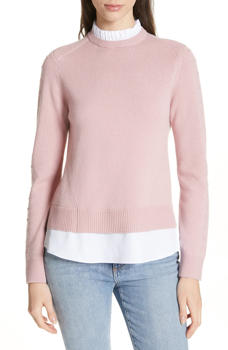 Ted Baker Lissiah Bobble Layered-Look Sweater In Dusky Pink