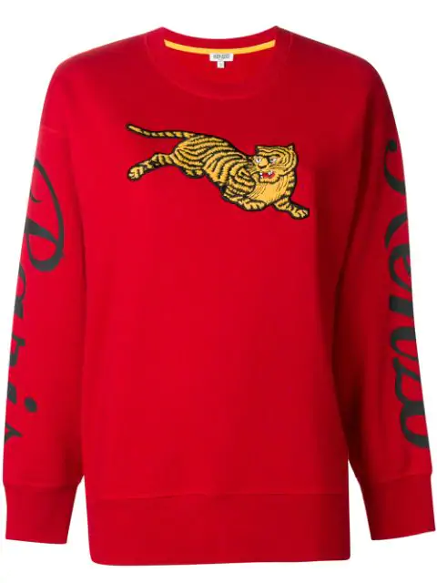 Kenzo Cotton Jumping Tiger Sweater In Red