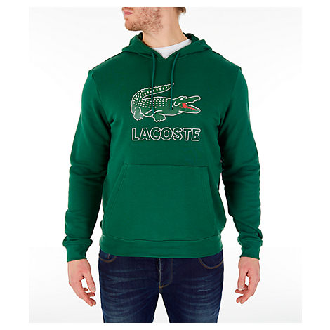 Lacoste Men's Big Croc Script Hoodie In Green Size Small Fleece
