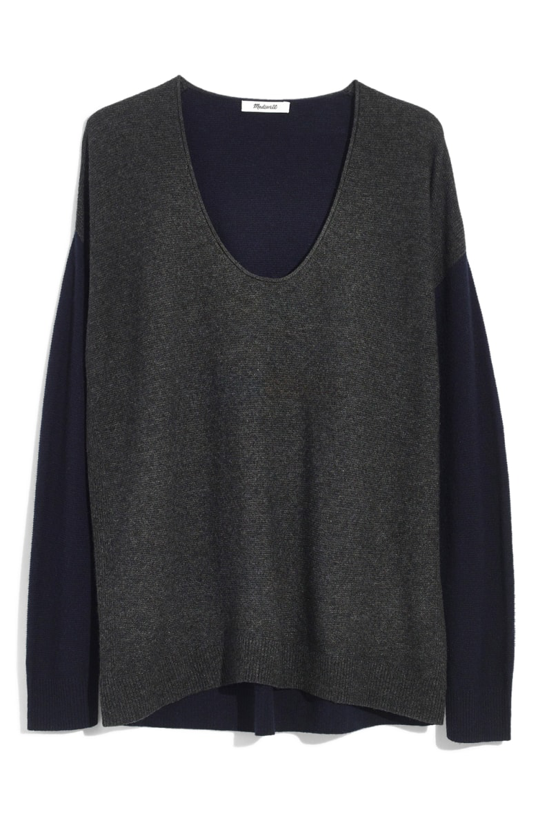 58e19df1c64 Madewell Kimball Colorblock Sweater In Dark Indigo