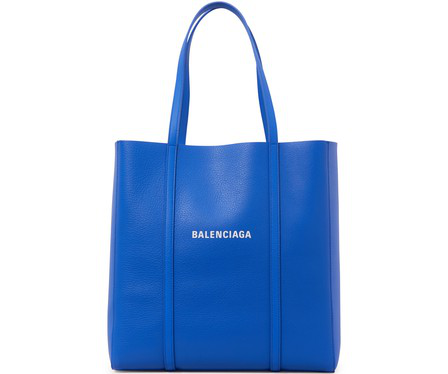 Balenciaga Small Everyday Logo Calfskin Tote - Blue In 4265