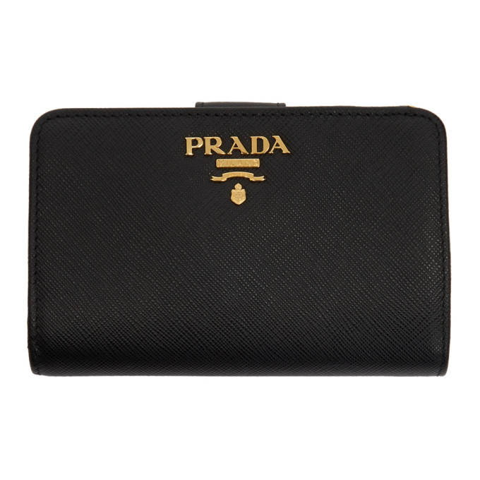 c0397c2d2f38 Prada Black Saffiano Leather Medium Wallet In F0002 Black | ModeSens