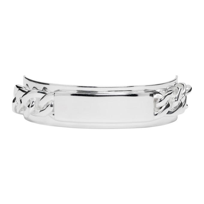 Maison Margiela Silver Chain Tag Bracelet In 951 Silver