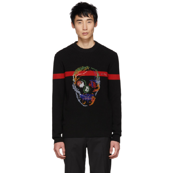 6d72717c Add To Collection. Alexander Mcqueen Skull-Embroidered Cotton-Knit Jumper  In 1054 Bk/Red