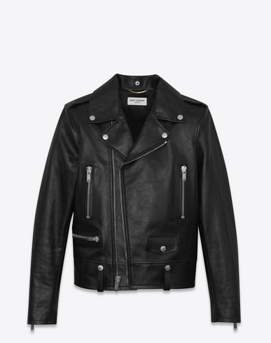 Saint Laurent Classic Motorcycle Jacket In Black Slouchy Leather