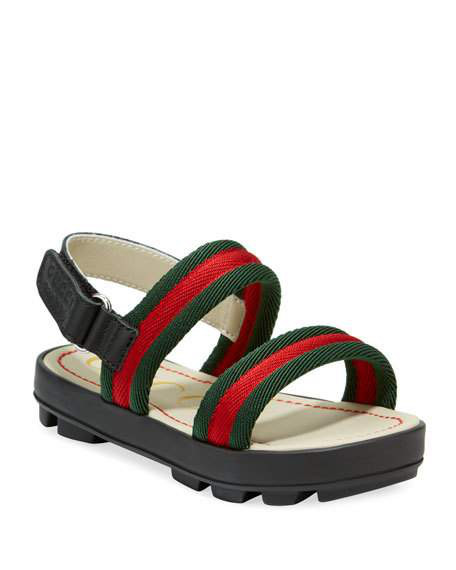 8d991136e Gucci Toddler Leather And Web Sandal In Green | ModeSens