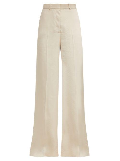 Stella Mccartney Wide-Leg Snake-Jacquard Trousers In Ivory