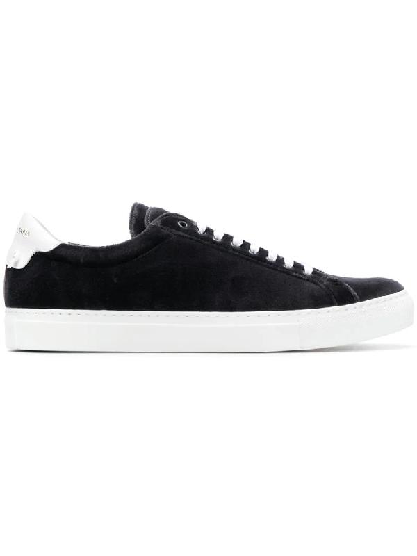 Givenchy Urban Street Low Top Velvet Sneakers Black In Grey