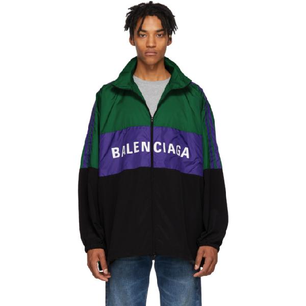 Balenciaga Colour-blocked Logo Shell Jacket In 8484 Emeral