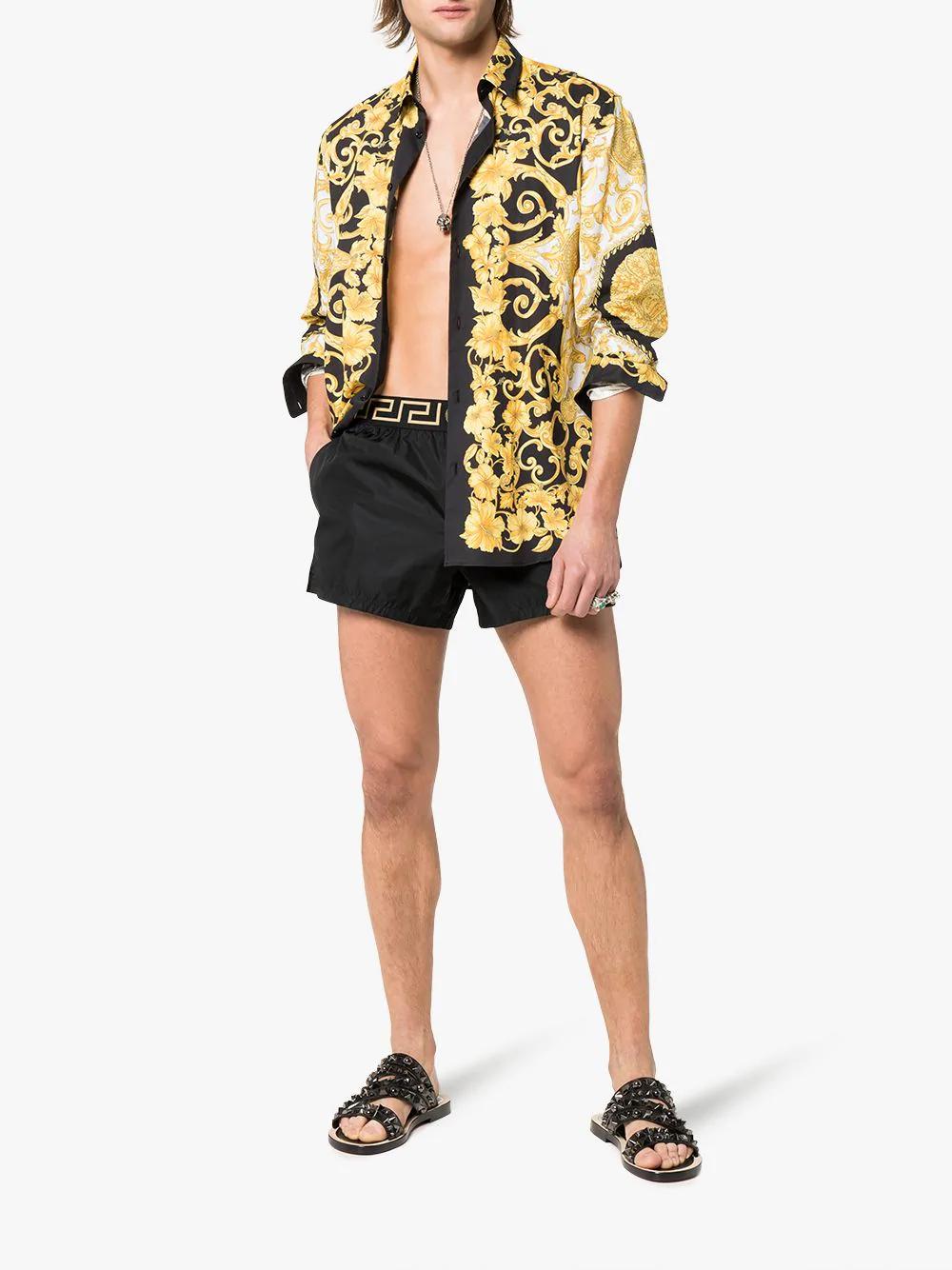 941f7fcbf6ea Versace Greca Border Swim Shorts In Black | ModeSens