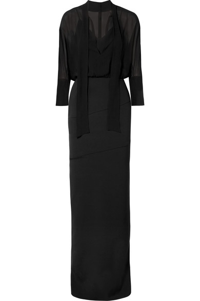 Akris Pussy-Bow Stretch-Silk Crepe And Georgette Dress In Black