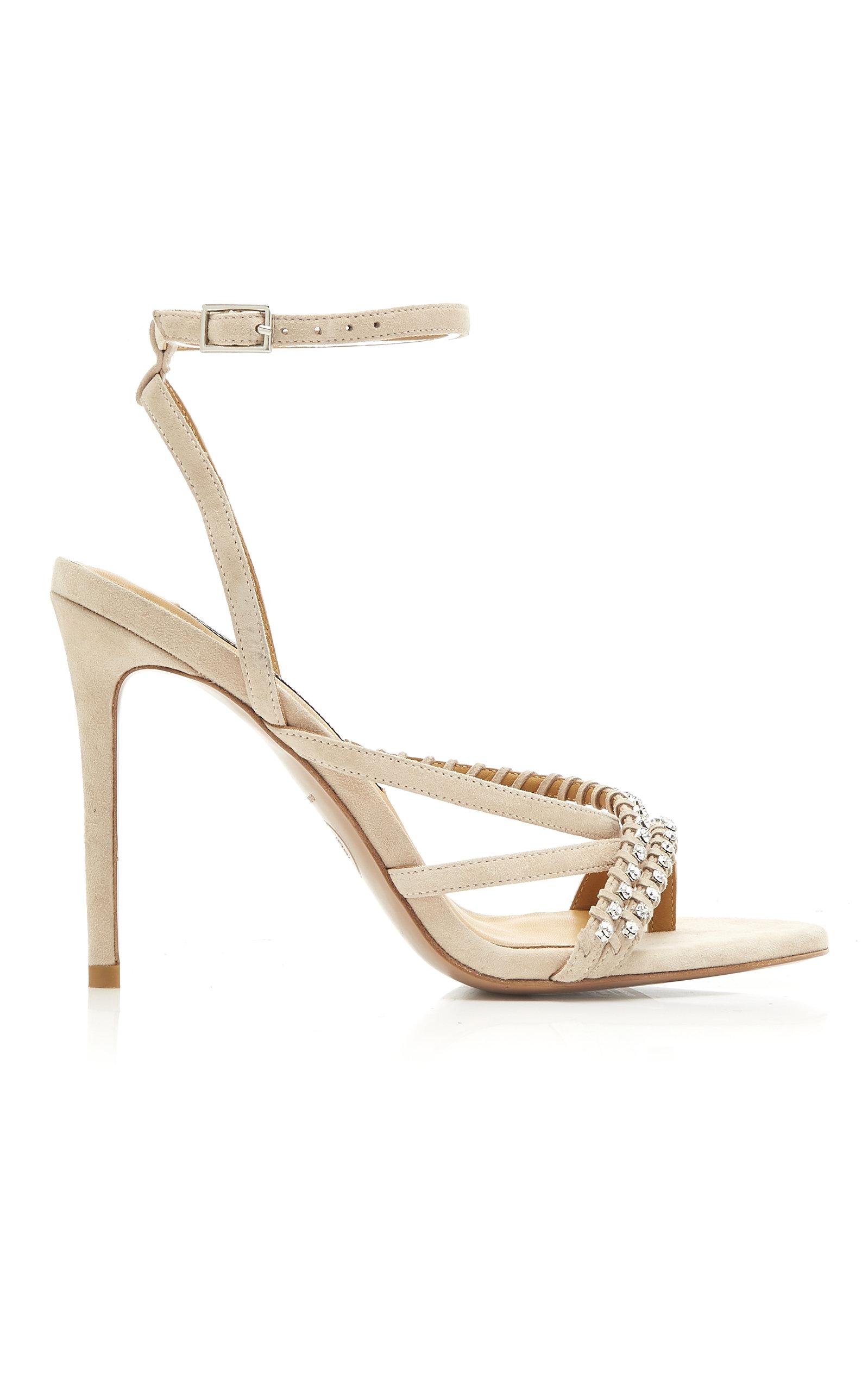d40f46c55 Veronica Beard Noelle Crystal Suede Sandals In Neutral   ModeSens