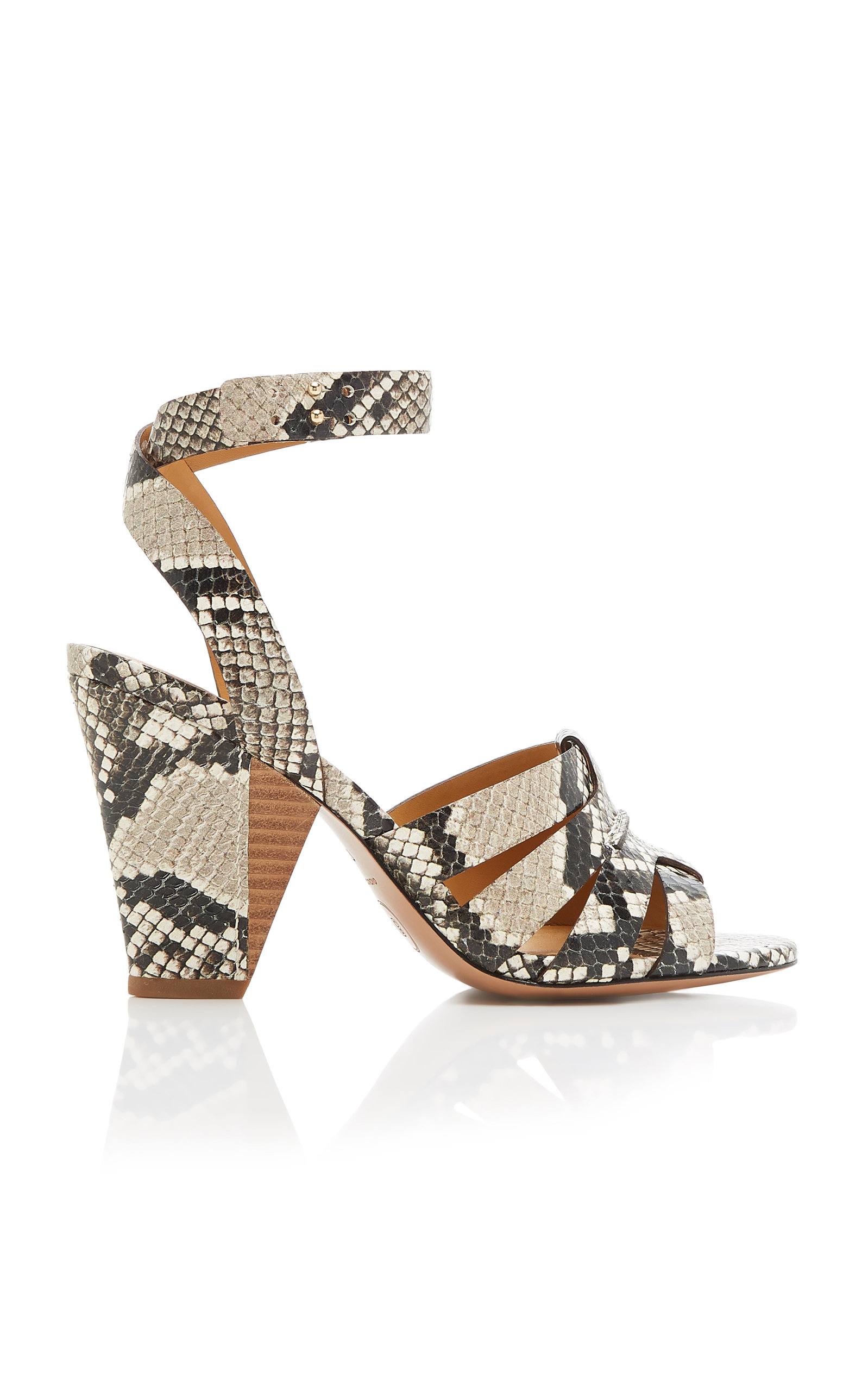 a8863ea9e Veronica Beard Charley Snake-Effect Leather Sandals In Neutral ...