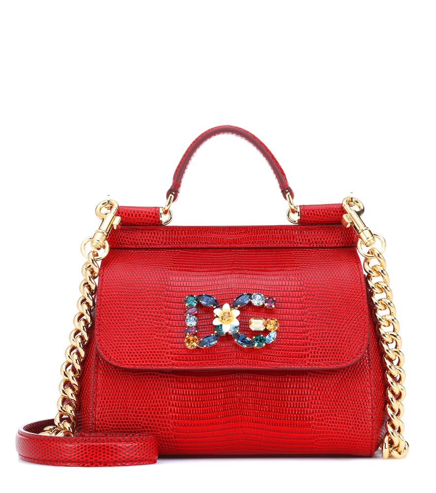 Dolce & Gabbana Sicily Mini Leather Shoulder Bag In Red