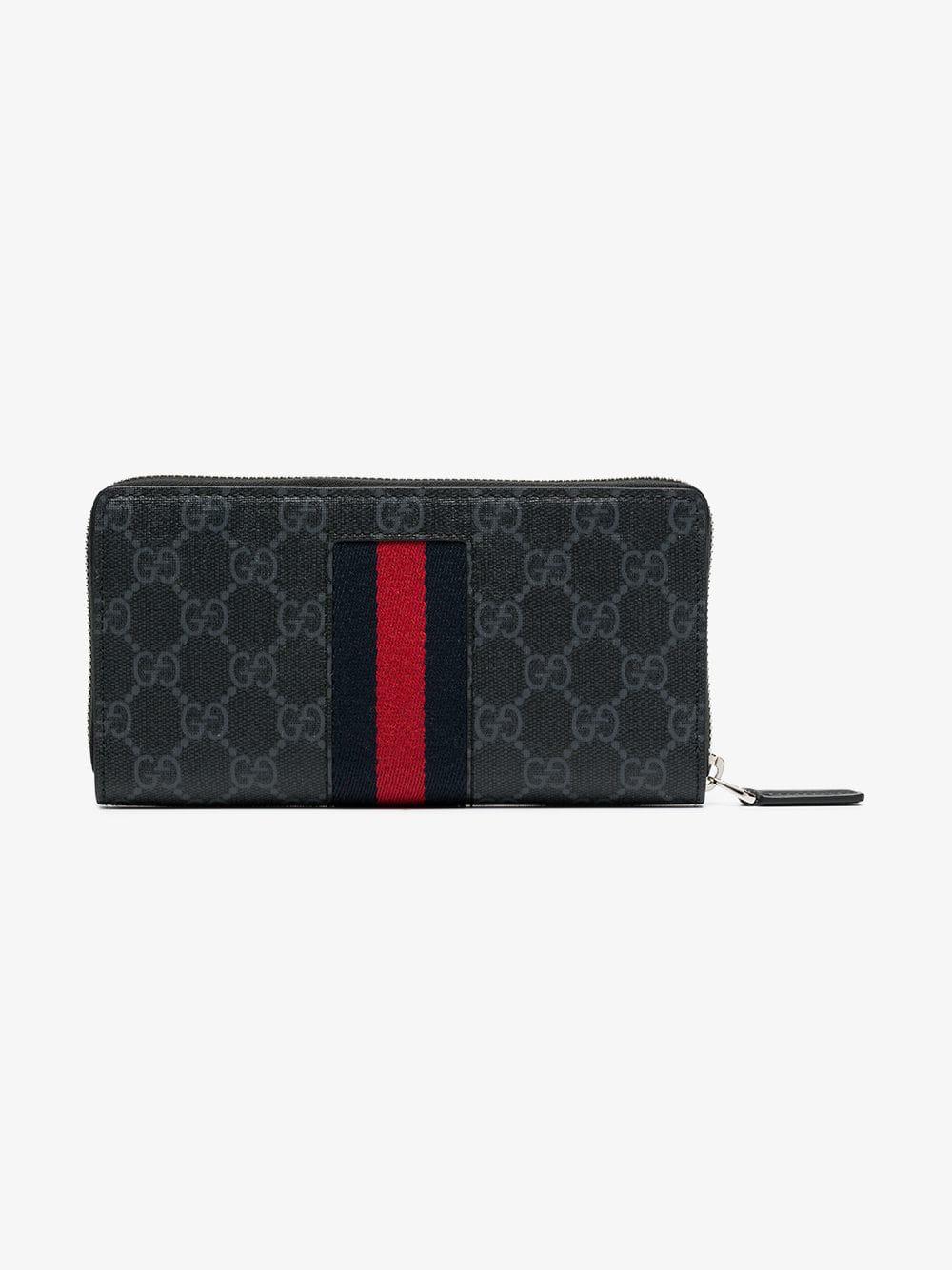 630787634d65 Gucci Black Gg Supreme Web Zip Around Wallet | ModeSens