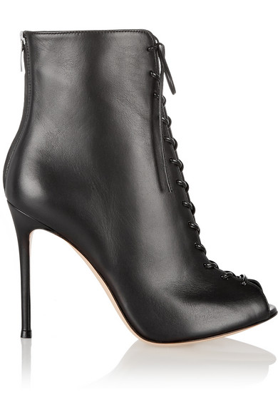 Gianvito Rossi Woman Lace-Up Leather Peep-Toe Ankle Boots Black