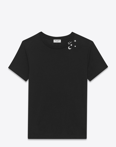 836568e0e6 Punk Rock Short Sleeve T-Shirt In Black And Ivory Moon And Stars Printed  Cotton Jersey