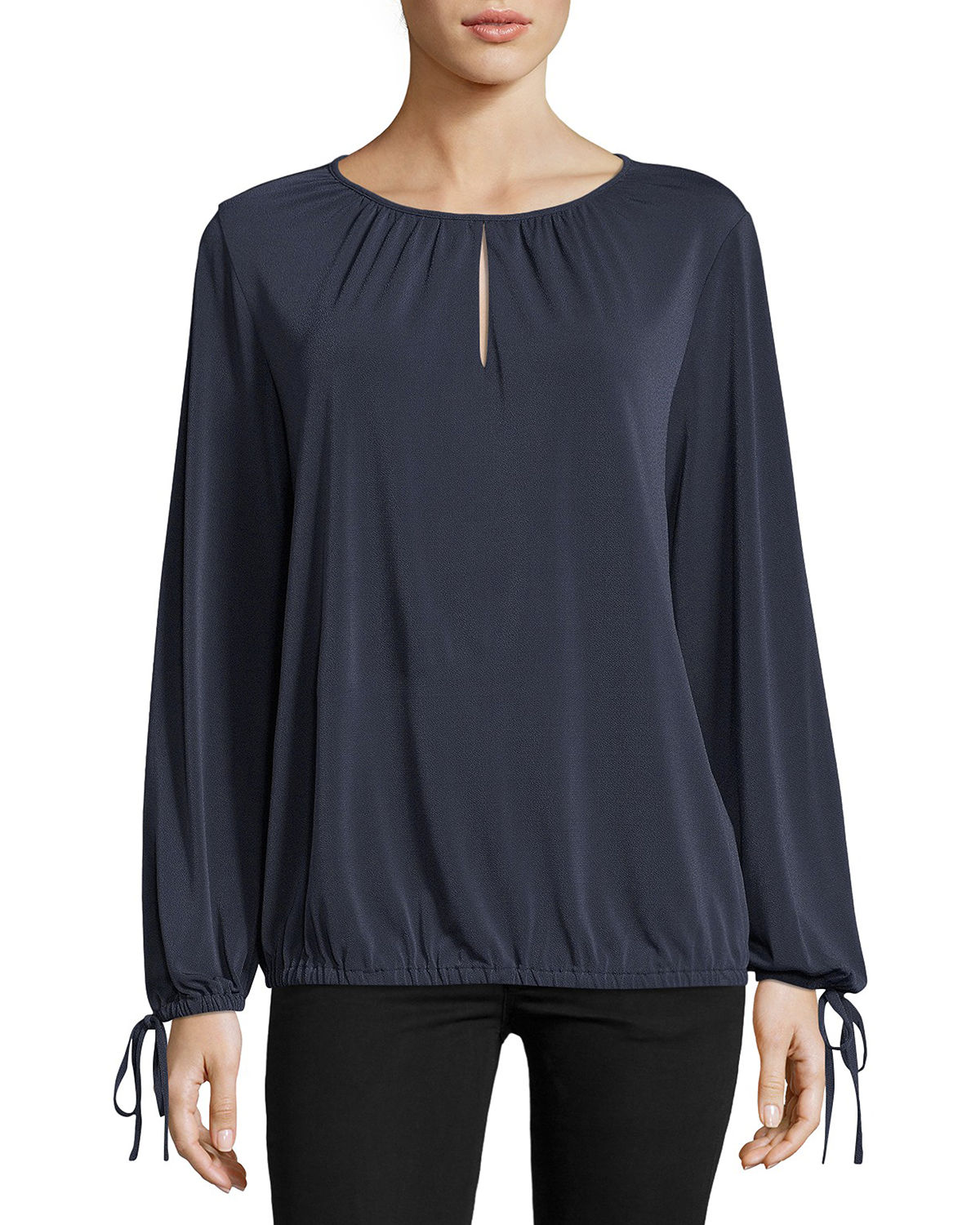 a4b494ce0a200 5Twelve Long-Sleeve Ruched Keyhole Blouse In Navy