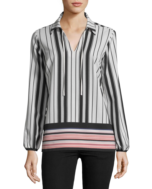 7d31fb33d5636 5Twelve Striped V-Neck Long-Sleeve Blouse In Black Pink