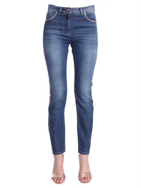 Versace Low Waist Skinny Fit Jeans In Blue