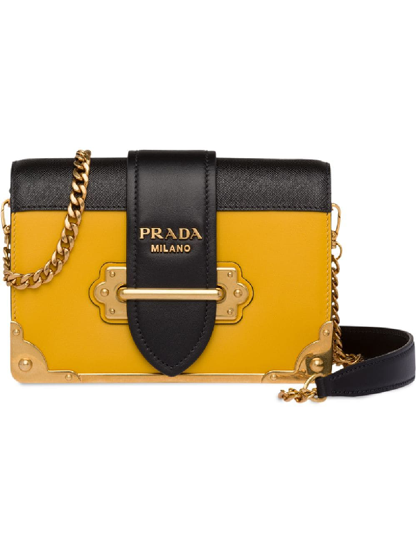 8beca7e9f9e0 Prada Small Cahier Leather Shoulder Bag In Yellow | ModeSens