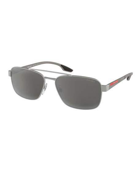 a784d185f14 Prada Men s Metal Square Aviator Sunglasses In Silver