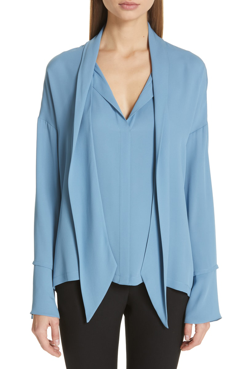 20278eb9d719f3 Theory Tie-Neck Silk Blouse In Sea Glass