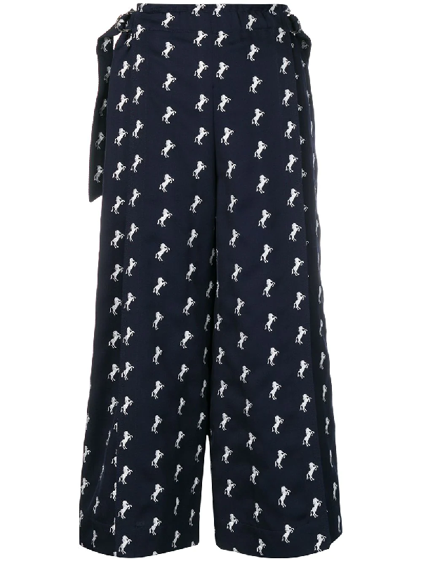 ChloÉ Horse Embroidery Cropped Trousers In Blue