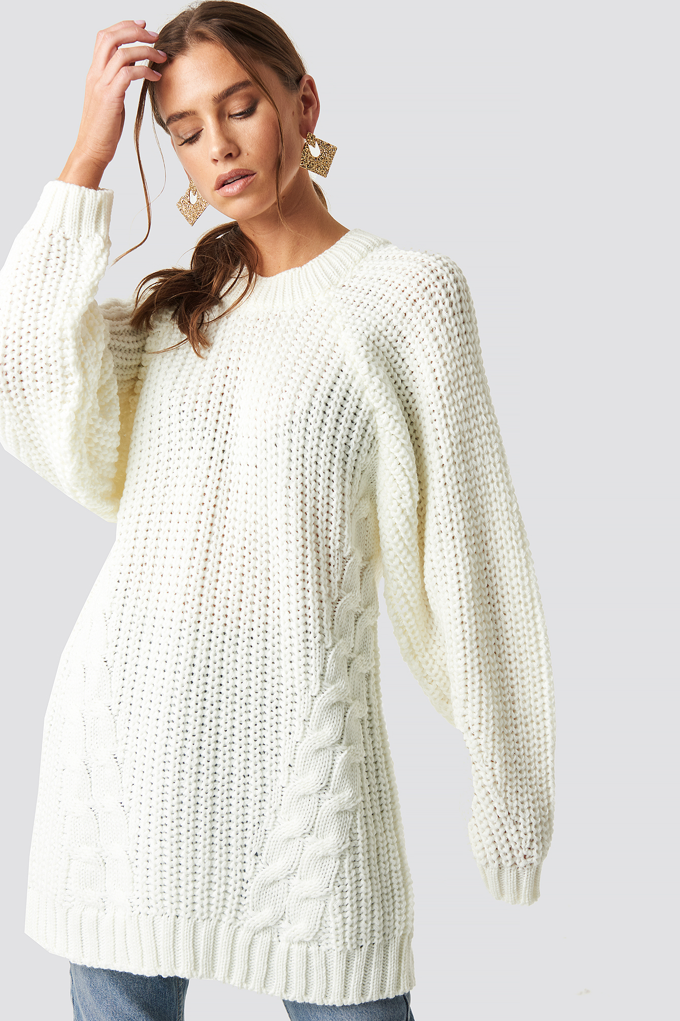 Oversized Knitted Sweater White In Ecru