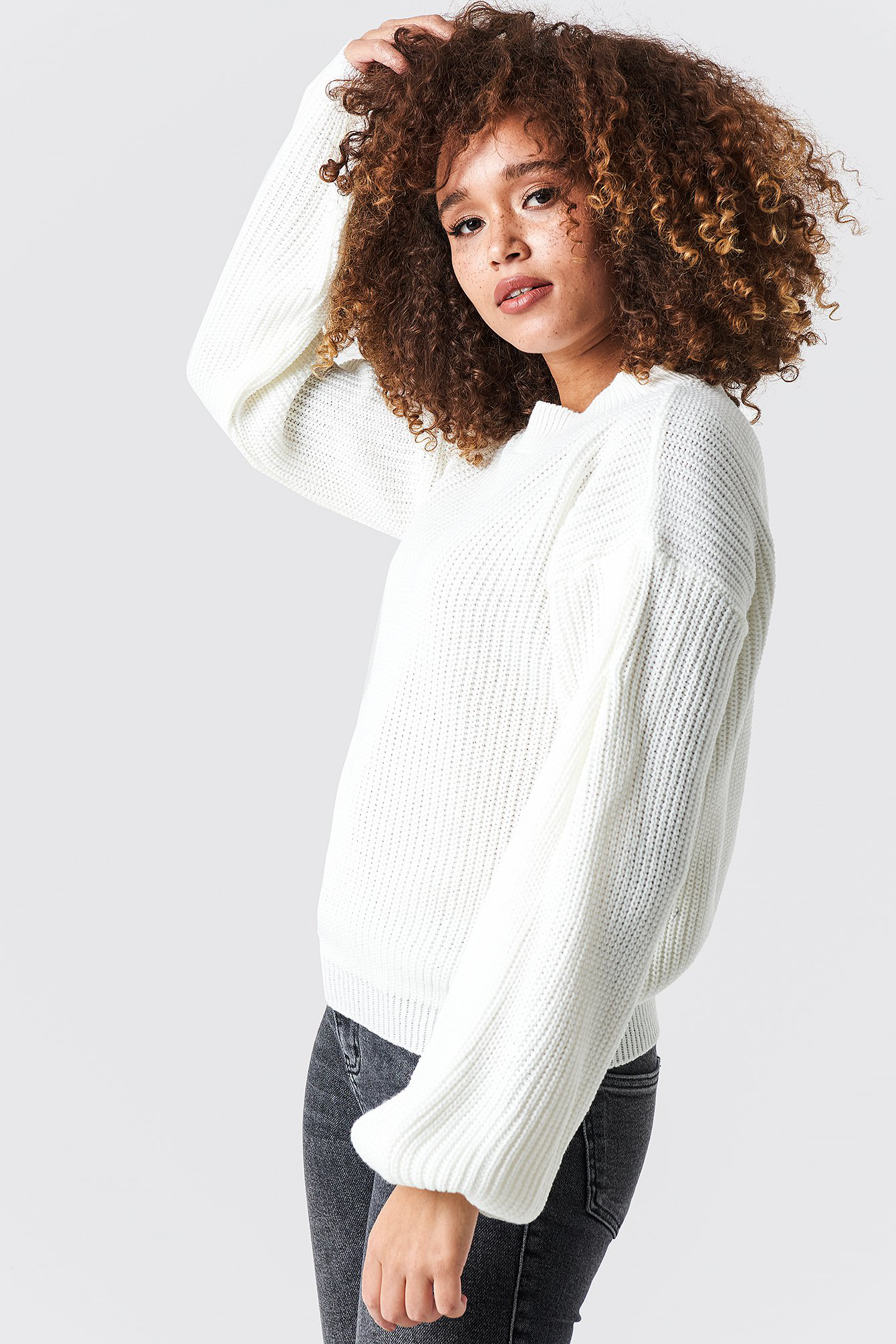 Glamorous Balloon Arm Knitted Sweater White In Off White