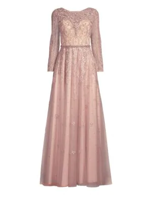 8b793ccbf05 Basix Black Label Long-Sleeve Beaded Lace Gown In Mauve