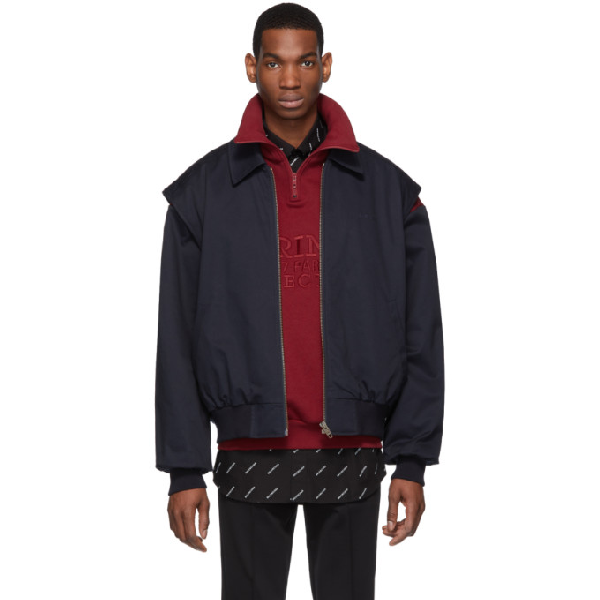 Balenciaga Gilet And Funnel-Neck Sweater-Blouson Twinset In 8065 Navy