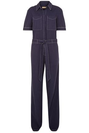 Burberry Woman Belted Cotton And Linen-Blend Jumpsuit Indigo