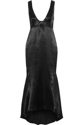 Beaufille Woman Nodus Fluted Satin Midi Dress Black