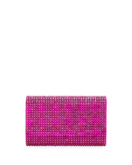 Judith Leiber Fizzoni Bling Clutch Bag With Crossbody Strap In Fuchsia